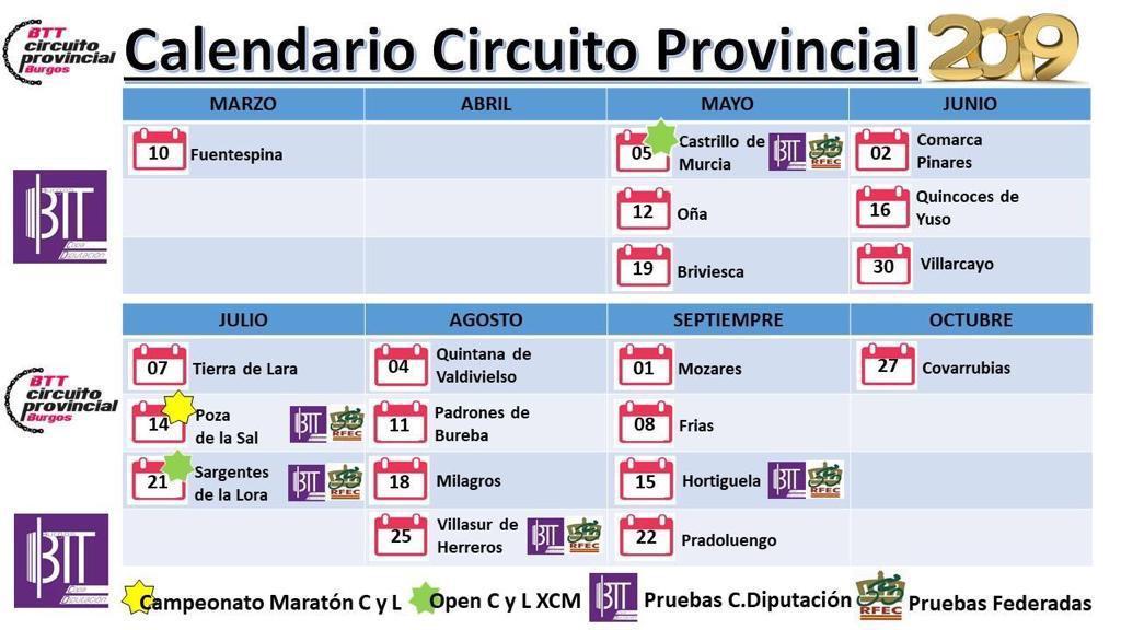 Calendario Circuito Provincial 2019