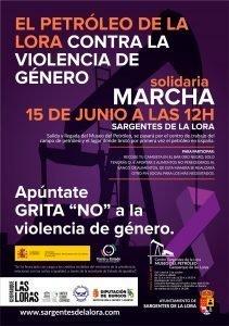 Cartel de la carrera solidaria contra la violencia de género - Sargentes de la Lora 15 de Junio de 2019